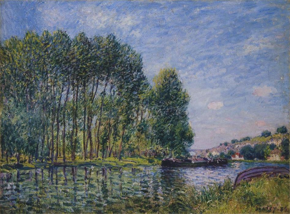famous painting Primavera sobre o Loing Rio of Alfred Sisley