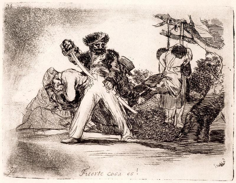 famous painting Es cosa Fuerte! of Francisco De Goya