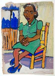 William Henry Johnson - mulher sentada dentro de  Verde  vestir  e  azul  sapatos