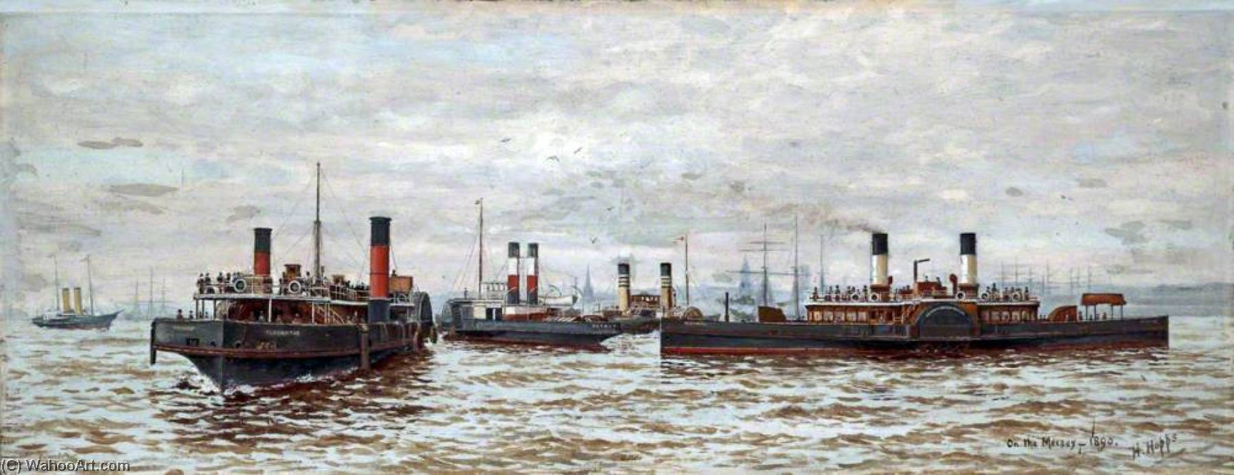 famous painting no Mersey 1890   of Harold Hopps